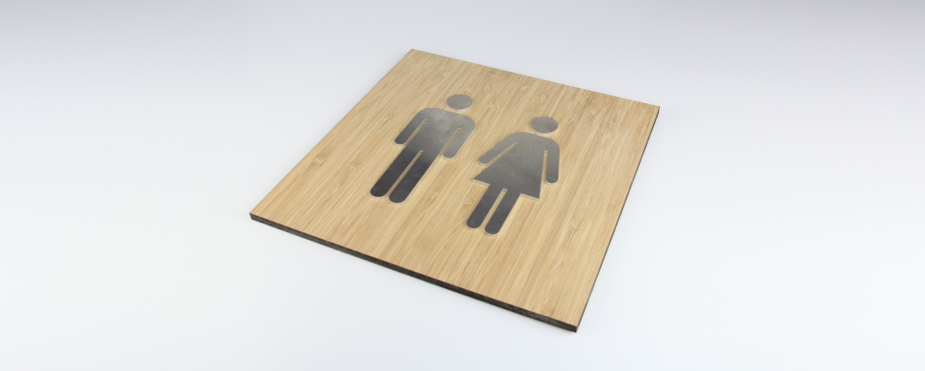 Laser cutting of a sign made of Aluminum and MDF