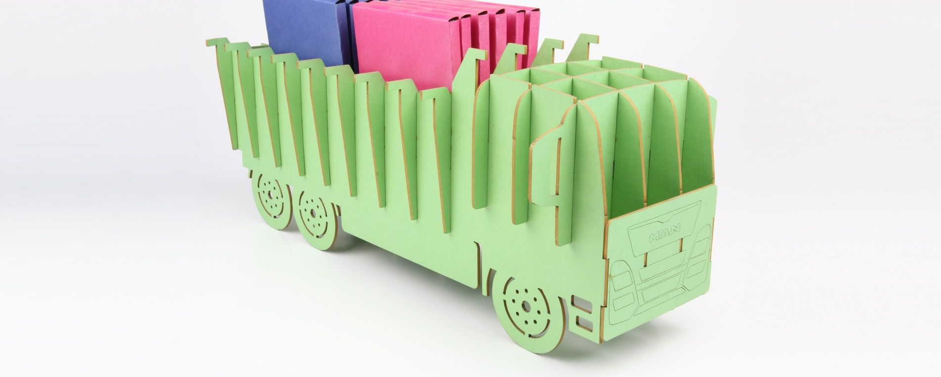 A model made by laser cutting of colored cardboard