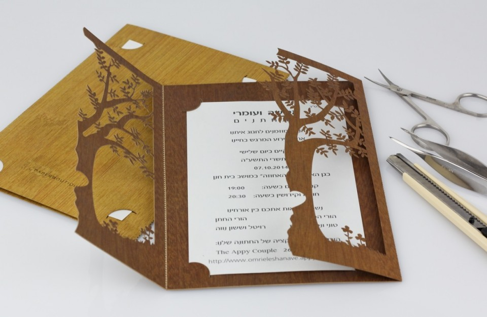 A prestigious invitation made of paper wood like and cut out using laser technology