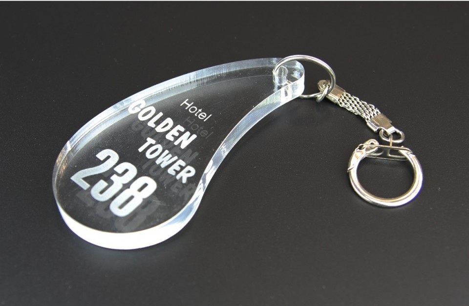 Laser cutting and marking on transparent acrylic - Hotel Key Holder with a variable information