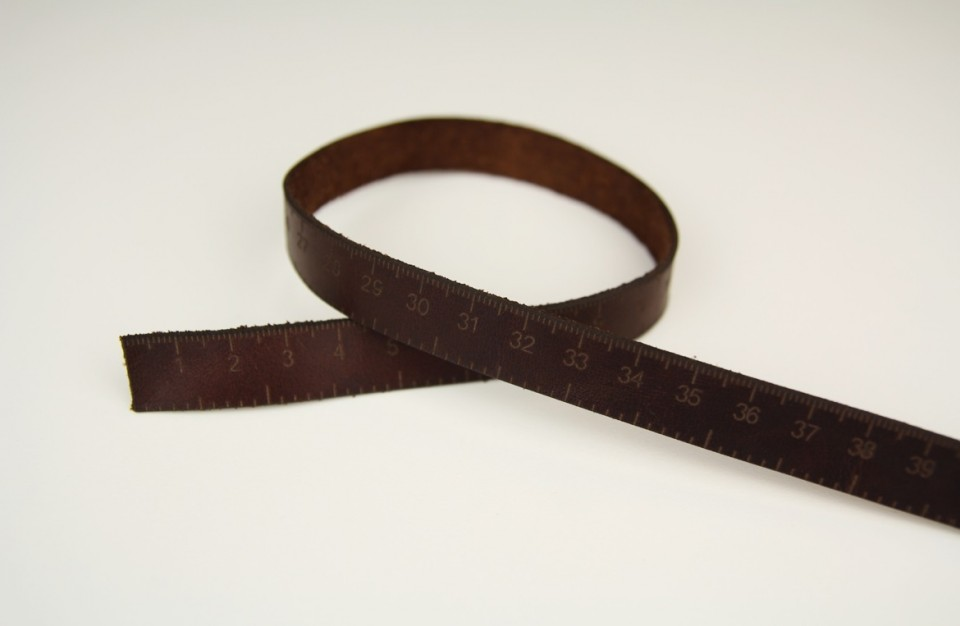 Laser marking of a ruler dial on leather strap 1mm thick