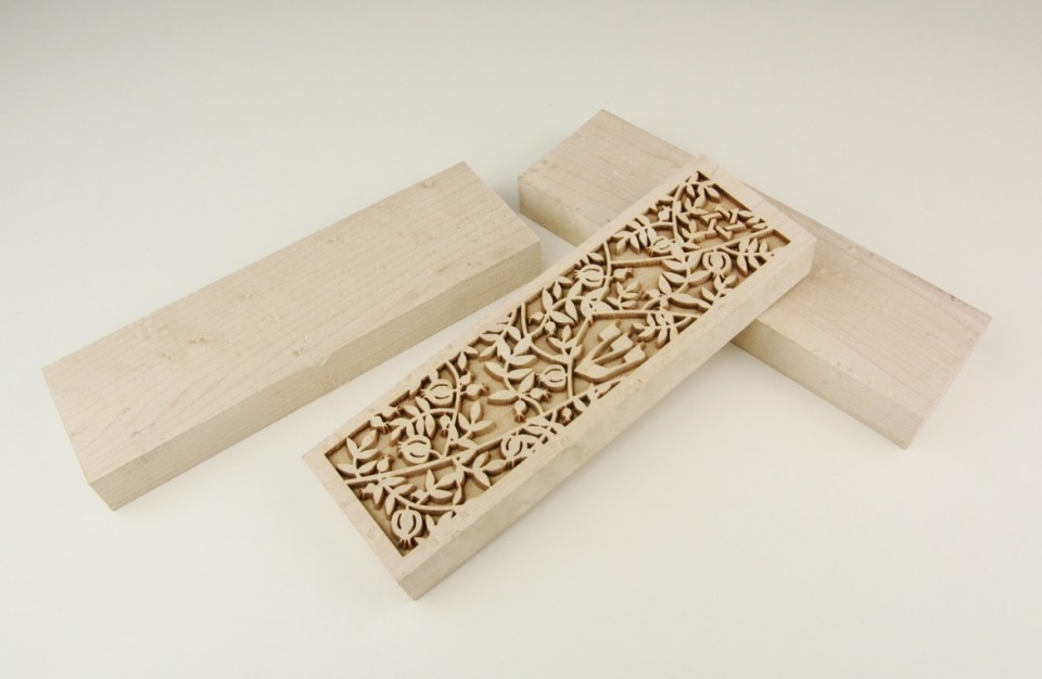 Maple wood Engraving - Wooden Mezuzah concept