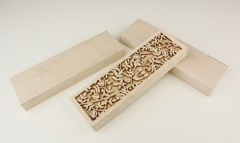 laser engraving in maple wood - a Jewish Mezuzah